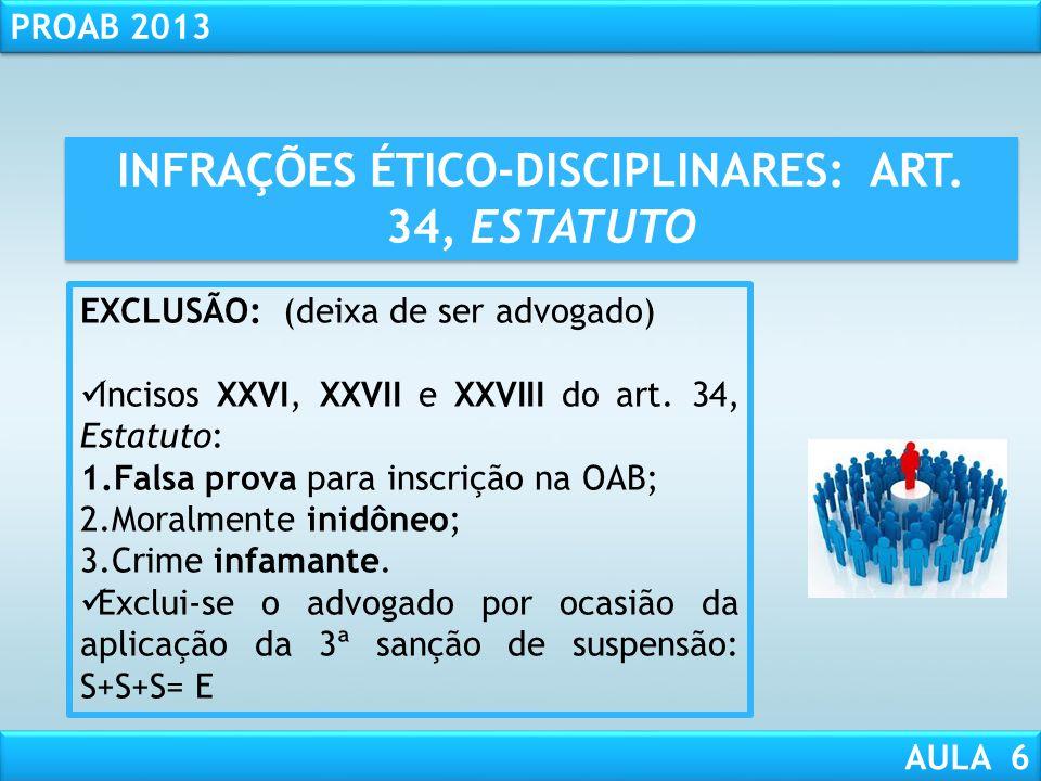 INFRAÇÕES ÉTICO-DISCIPLINARES: ART. 34, ESTATUTO