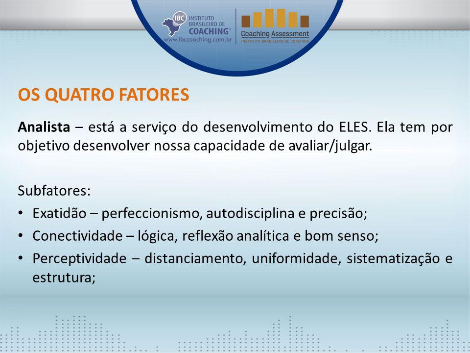 OS QUATRO FATORES Analista – está a serviço do desenvolvimento do ELES. Ela tem por objetivo desenvolver nossa capacidade de avaliar/julgar.