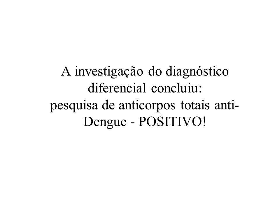 A investigação do diagnóstico diferencial concluiu: pesquisa de anticorpos totais anti-Dengue - POSITIVO!