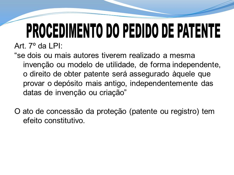 PROCEDIMENTO DO PEDIDO DE PATENTE