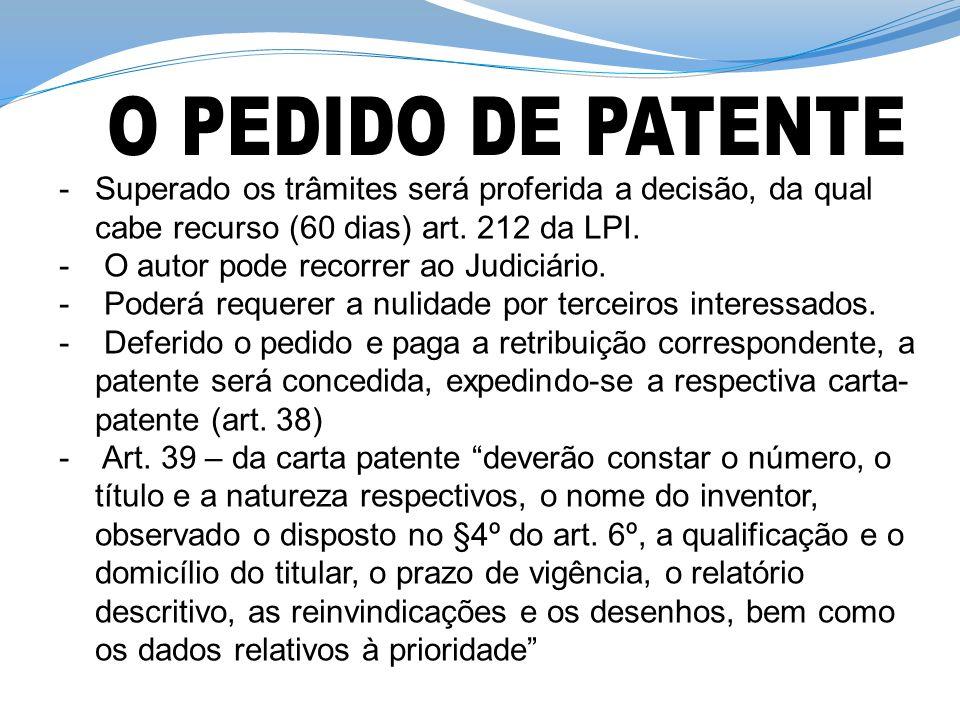 O PEDIDO DE PATENTE Superado os trâmites será proferida a decisão, da qual cabe recurso (60 dias) art. 212 da LPI.