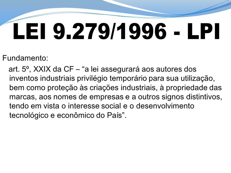 LEI 9.279/1996 - LPI Fundamento: