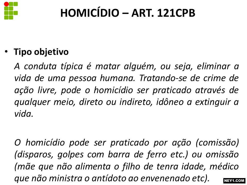HOMICÍDIO – ART. 121CPB Tipo objetivo