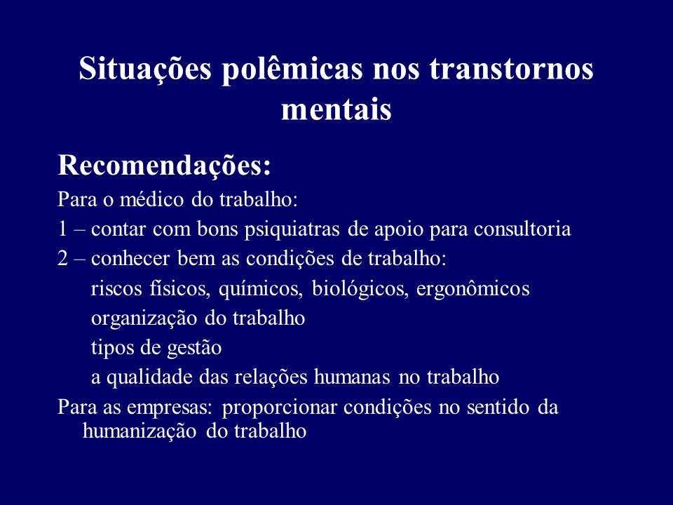 Situações polêmicas nos transtornos mentais
