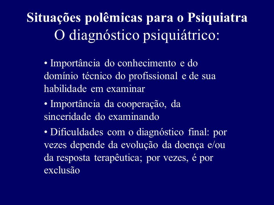 Situações polêmicas para o Psiquiatra O diagnóstico psiquiátrico: