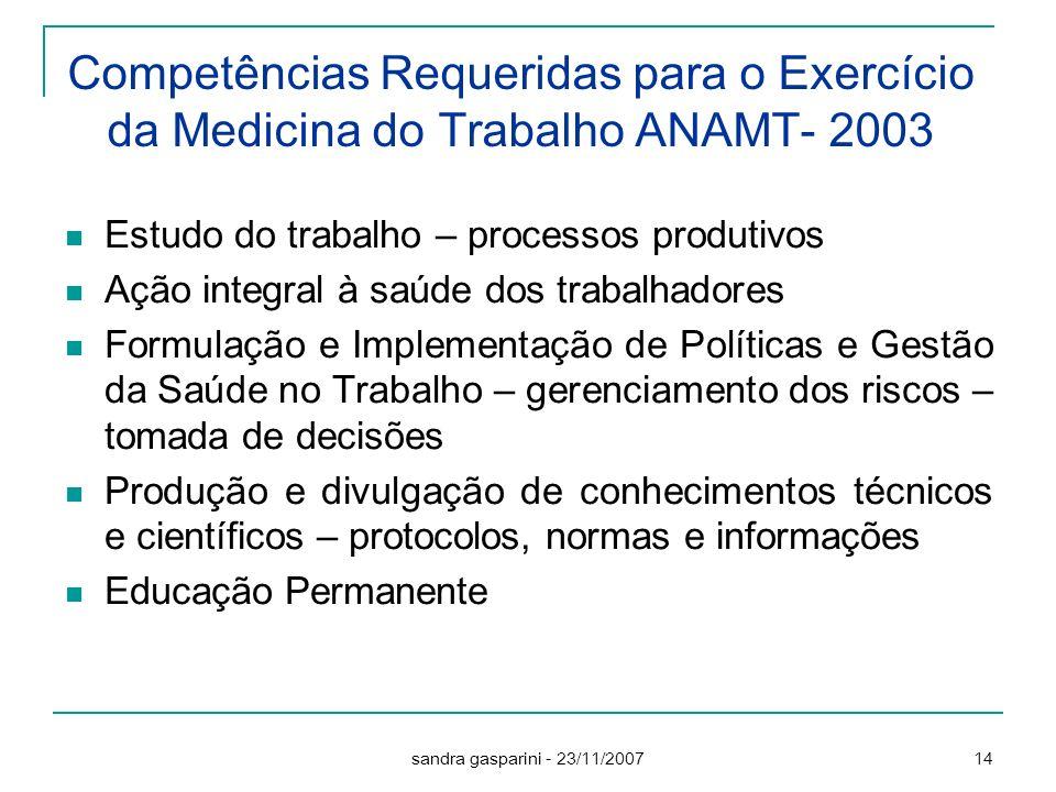 Competências Requeridas para o Exercício da Medicina do Trabalho ANAMT- 2003