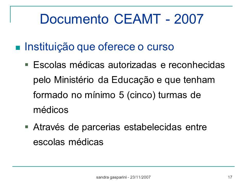 Documento CEAMT - 2007 Instituição que oferece o curso