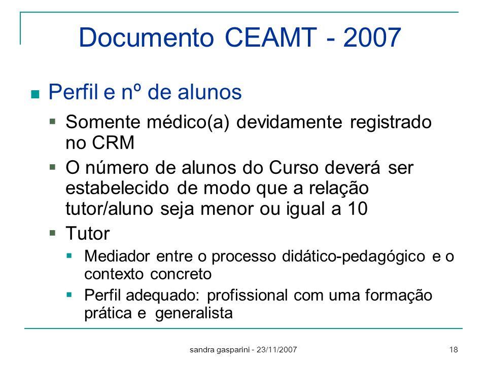 Documento CEAMT - 2007 Perfil e nº de alunos