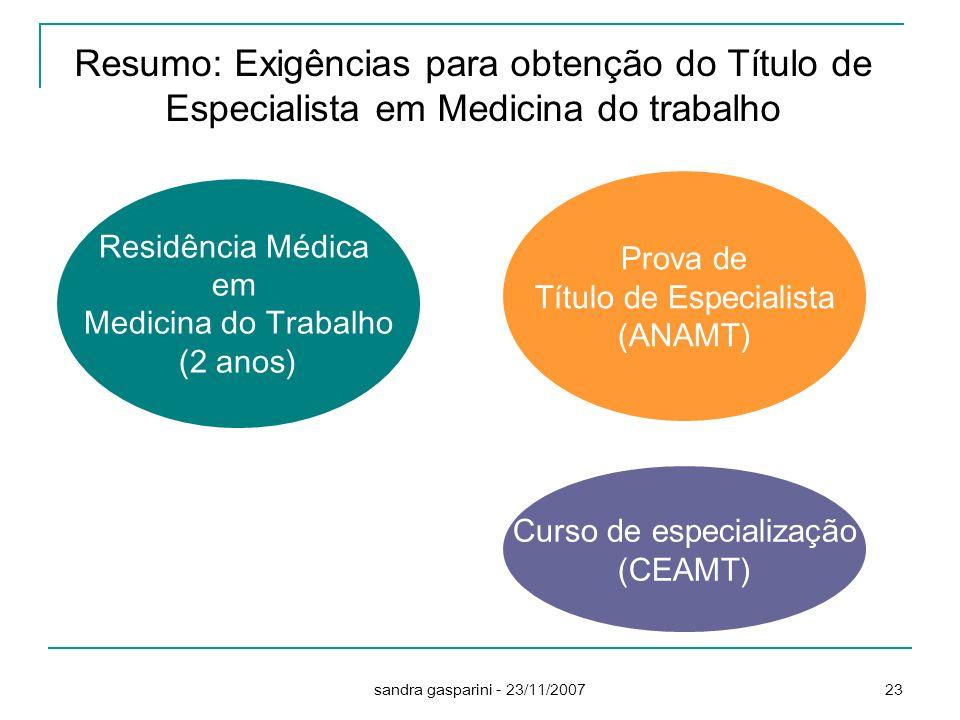 Resumo: Exigências para obtenção do Título de Especialista em Medicina do trabalho