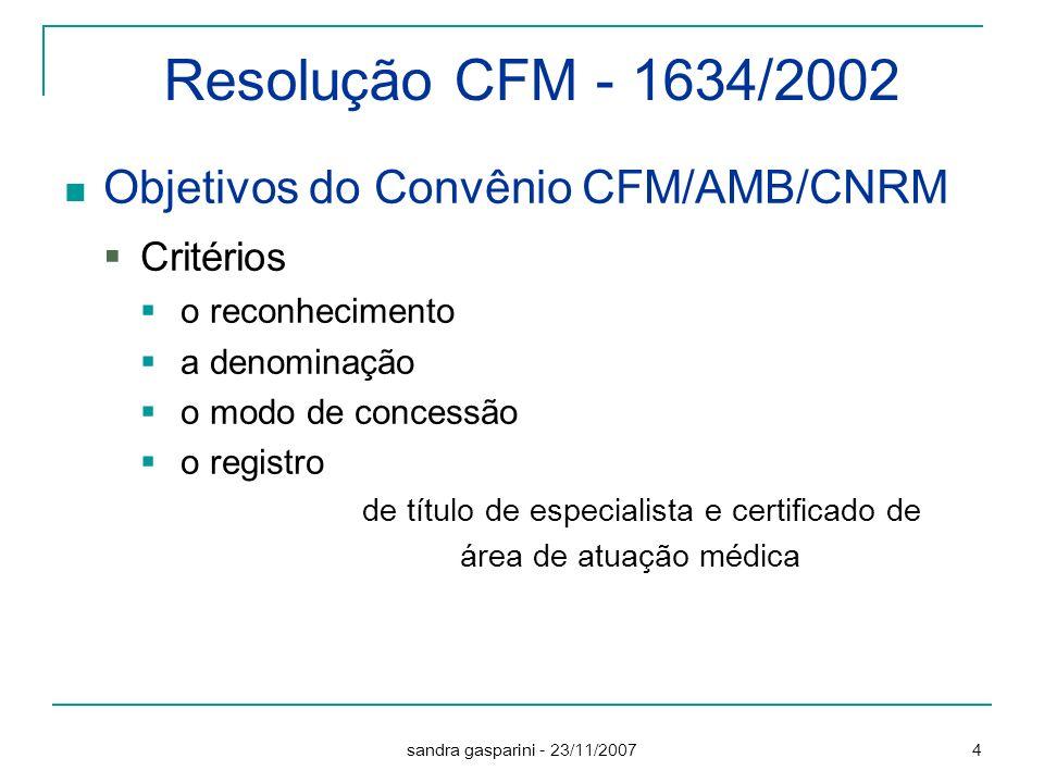 Resolução CFM - 1634/2002 Objetivos do Convênio CFM/AMB/CNRM Critérios