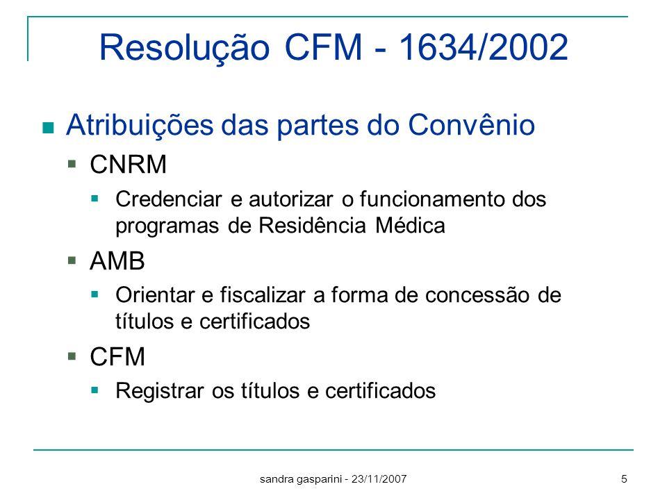 Resolução CFM - 1634/2002 Atribuições das partes do Convênio CNRM AMB
