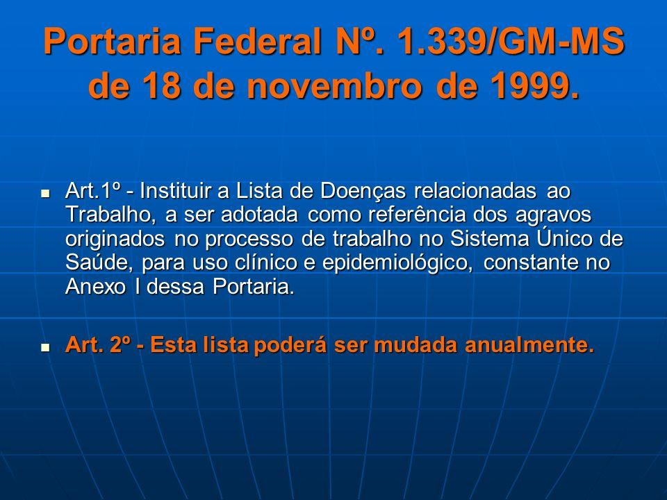 Portaria Federal Nº. 1.339/GM-MS de 18 de novembro de 1999.