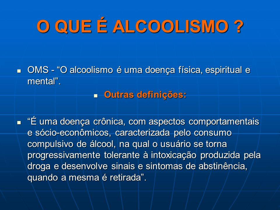 O QUE É ALCOOLISMO OMS - O alcoolismo é uma doença física, espiritual e mental . Outras definições: