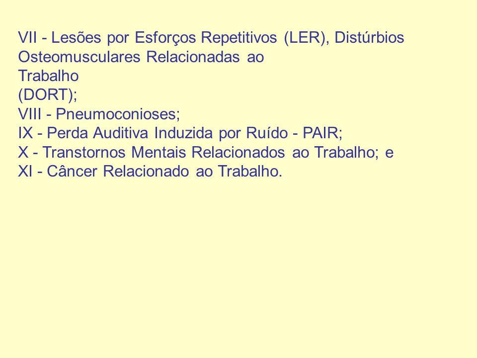 VII - Lesões por Esforços Repetitivos (LER), Distúrbios Osteomusculares Relacionadas ao