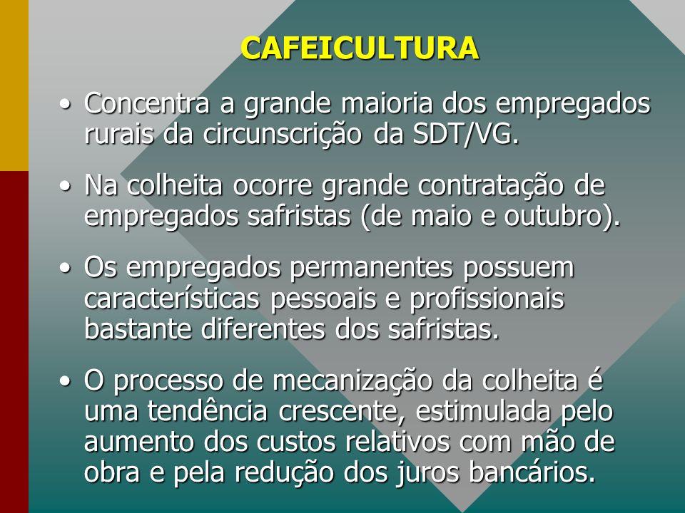CAFEICULTURA Concentra a grande maioria dos empregados rurais da circunscrição da SDT/VG.