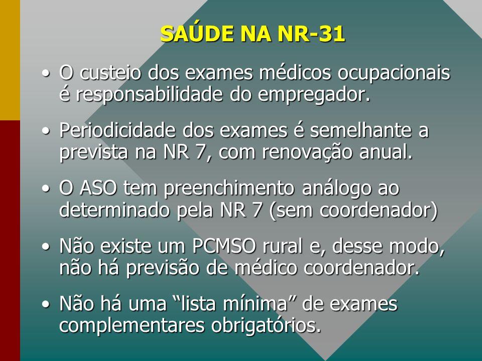 SAÚDE NA NR-31 O custeio dos exames médicos ocupacionais é responsabilidade do empregador.