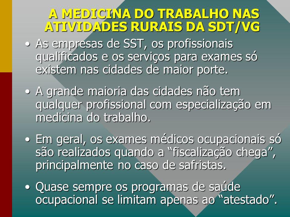 A MEDICINA DO TRABALHO NAS ATIVIDADES RURAIS DA SDT/VG