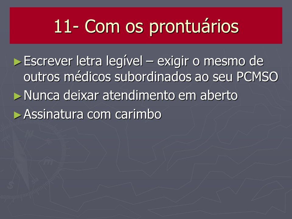 11- Com os prontuários Escrever letra legível – exigir o mesmo de outros médicos subordinados ao seu PCMSO.