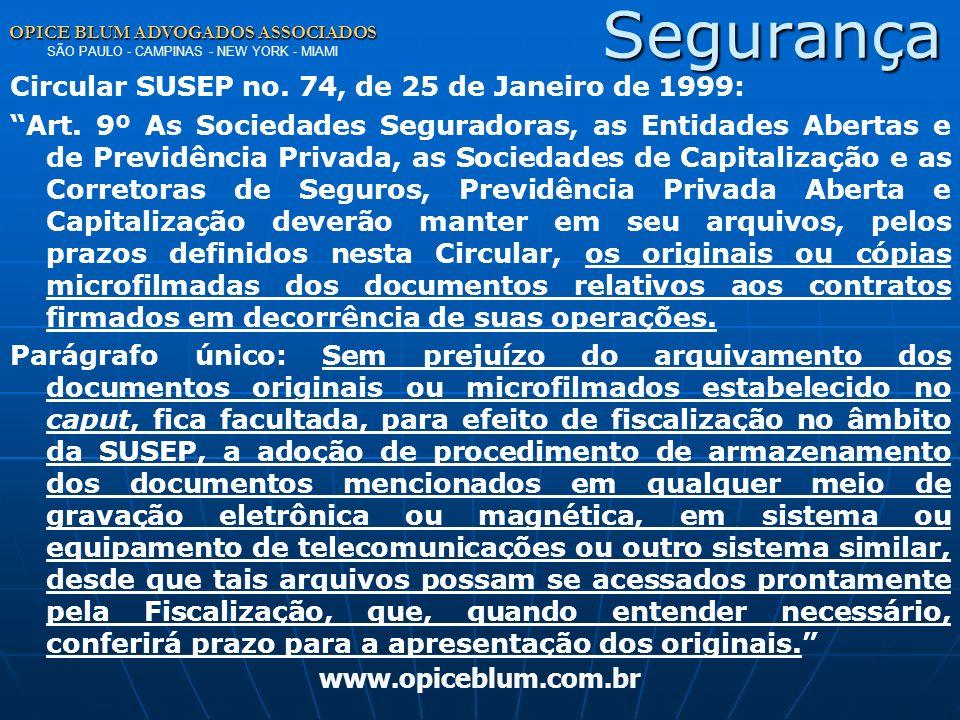 Segurança Circular SUSEP no. 74, de 25 de Janeiro de 1999: