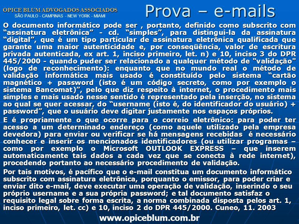 Prova – e-mails www.opiceblum.com.br
