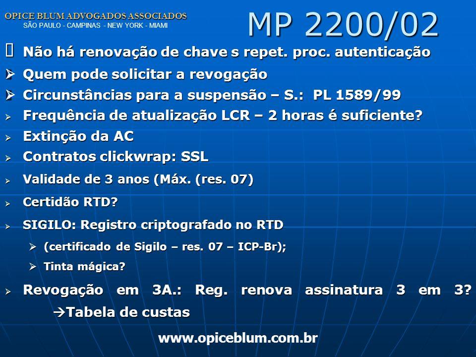 MP 2200/02 Ø Não há renovação de chave s repet. proc. autenticação