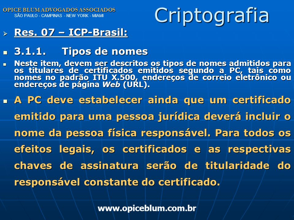 Criptografia Res. 07 – ICP-Brasil: 3.1.1. Tipos de nomes