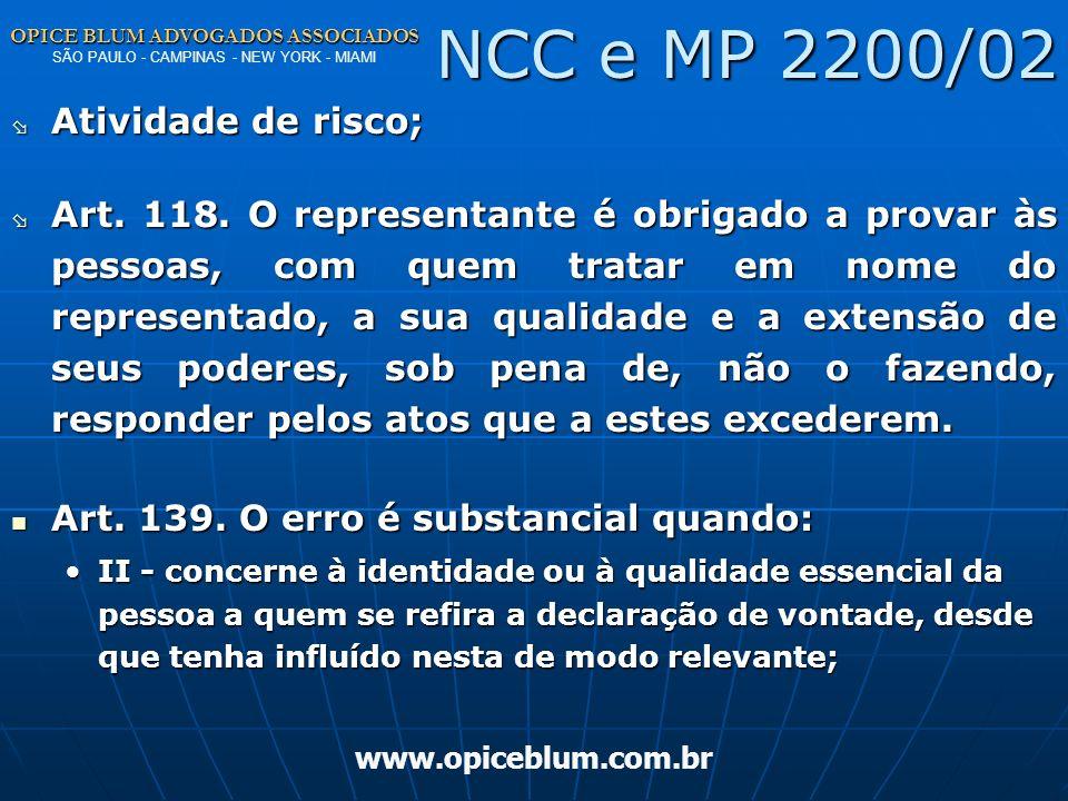NCC e MP 2200/02 Atividade de risco;