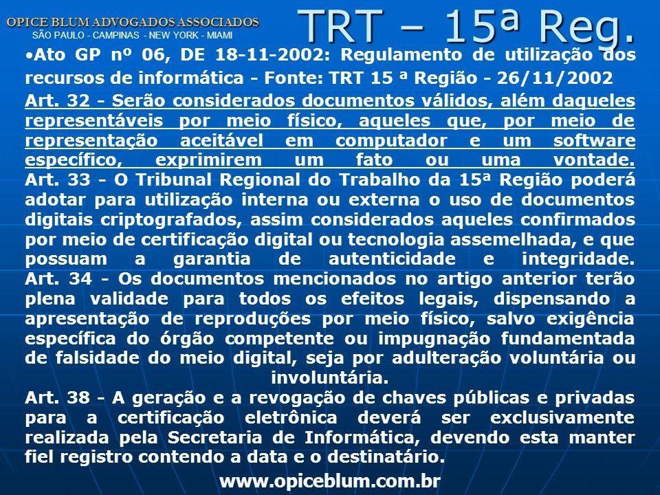 TRT – 15ª Reg. www.opiceblum.com.br