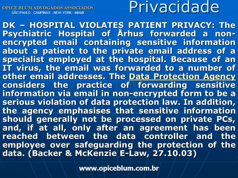 Privacidade OPICE BLUM ADVOGADOS ASSOCIADOS SÃO PAULO - CAMPINAS - NEW YORK - MIAMI.