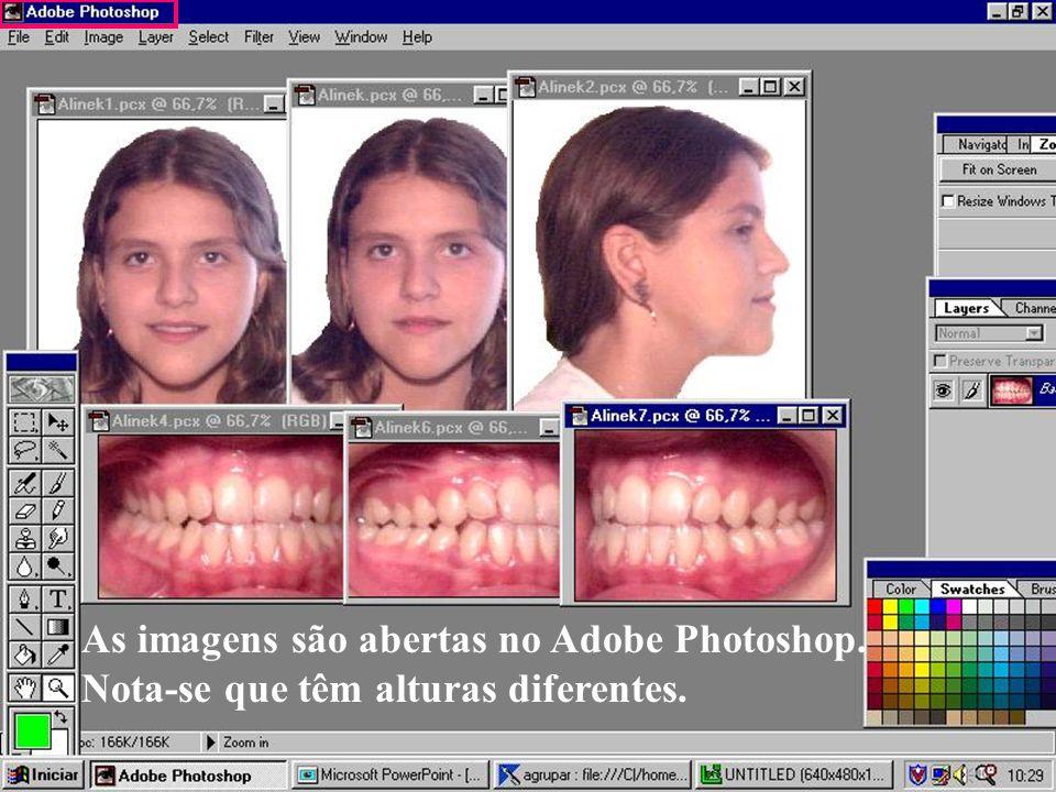 As imagens são abertas no Adobe Photoshop.