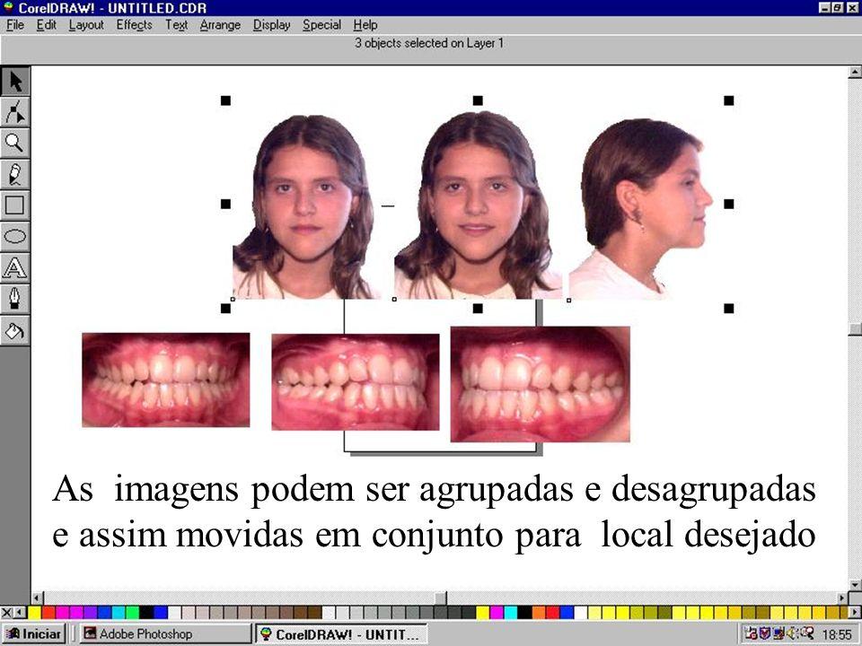 As imagens podem ser agrupadas e desagrupadas e assim movidas em conjunto para local desejado