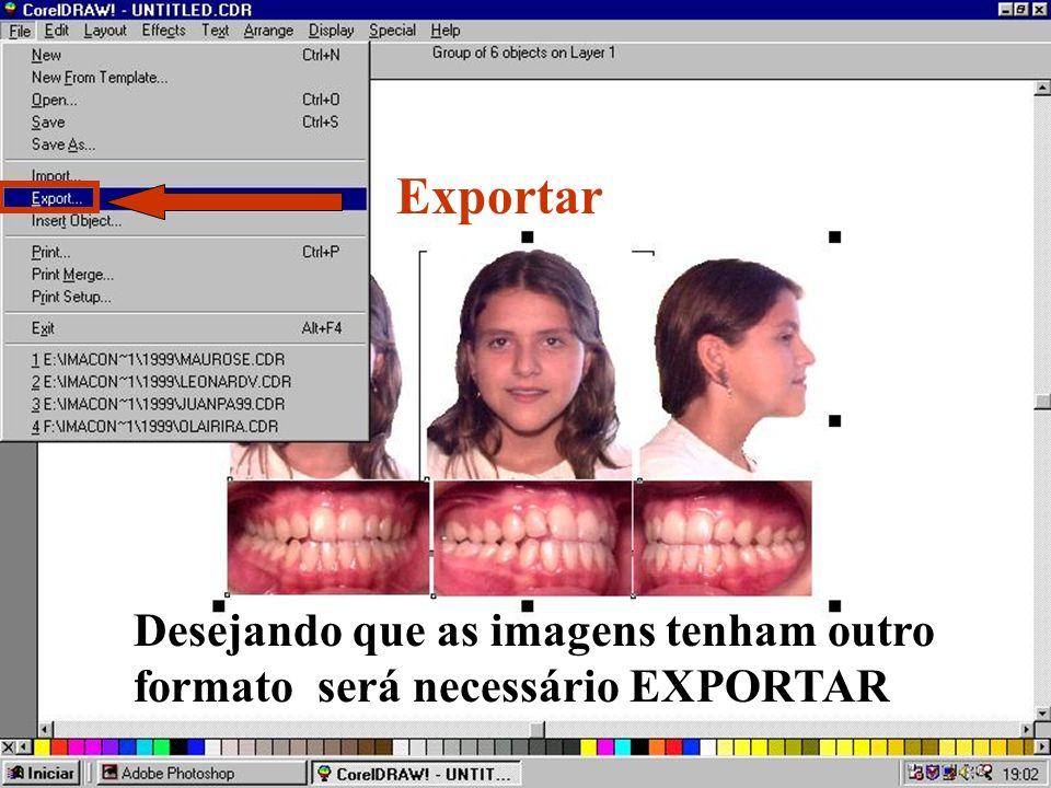 Exportar Desejando que as imagens tenham outro