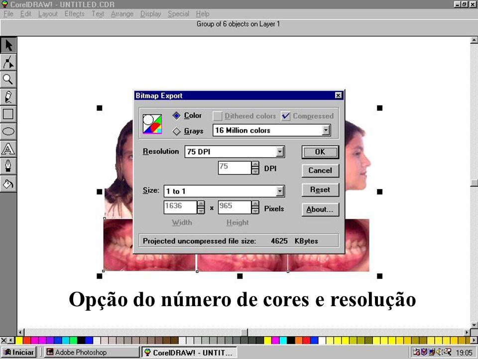Opção do número de cores e resolução