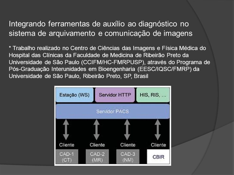 Integrando ferramentas de auxílio ao diagnóstico no sistema de arquivamento e comunicação de imagens * Trabalho realizado no Centro de Ciências das Imagens e Física Médica do Hospital das Clínicas da Faculdade de Medicina de Ribeirão Preto da Universidade de São Paulo (CCIFM/HC-FMRPUSP), através do Programa de Pós-Graduação Interunidades em Bioengenharia (EESC/IQSC/FMRP) da Universidade de São Paulo, Ribeirão Preto, SP, Brasil