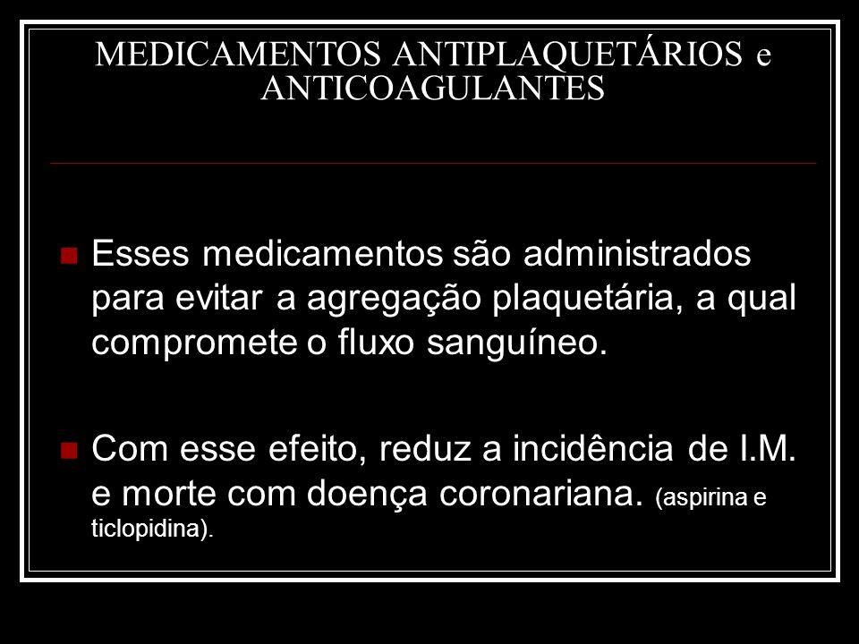 MEDICAMENTOS ANTIPLAQUETÁRIOS e ANTICOAGULANTES