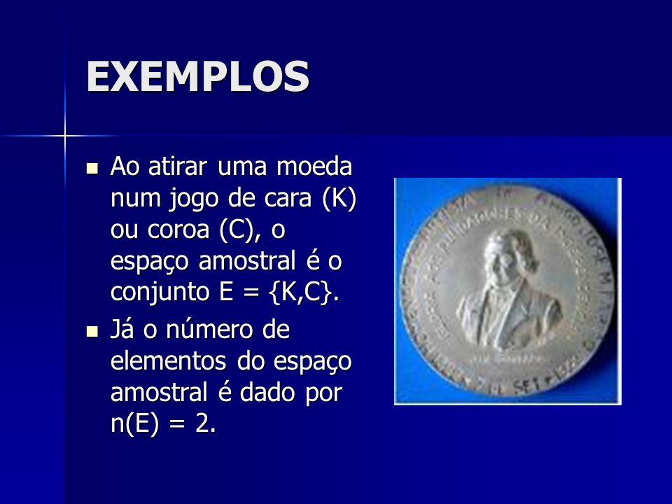 EXEMPLOS Ao atirar uma moeda num jogo de cara (K) ou coroa (C), o espaço amostral é o conjunto E = {K,C}.