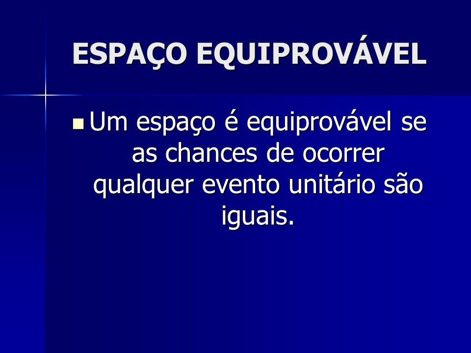 ESPAÇO EQUIPROVÁVEL Um espaço é equiprovável se as chances de ocorrer qualquer evento unitário são iguais.