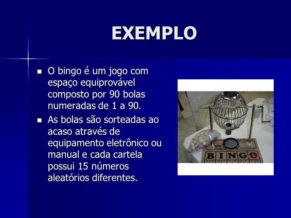EXEMPLO O bingo é um jogo com espaço equiprovável composto por 90 bolas numeradas de 1 a 90.