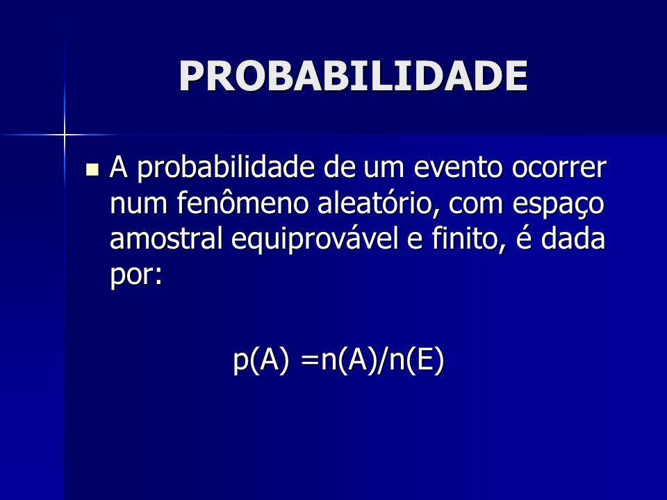 PROBABILIDADE A probabilidade de um evento ocorrer num fenômeno aleatório, com espaço amostral equiprovável e finito, é dada por:
