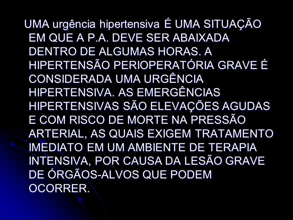 UMA urgência hipertensiva É UMA SITUAÇÃO EM QUE A P. A