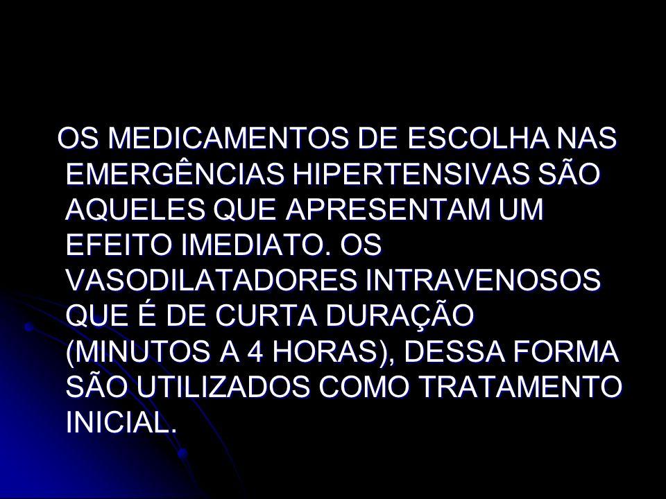 OS MEDICAMENTOS DE ESCOLHA NAS EMERGÊNCIAS HIPERTENSIVAS SÃO AQUELES QUE APRESENTAM UM EFEITO IMEDIATO.