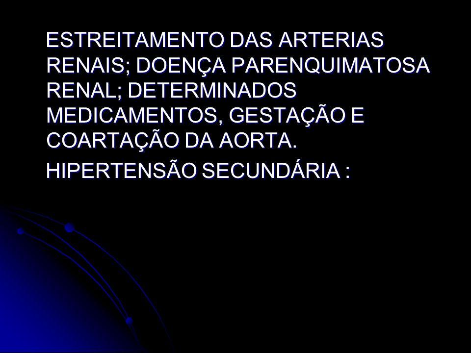 ESTREITAMENTO DAS ARTERIAS RENAIS; DOENÇA PARENQUIMATOSA RENAL; DETERMINADOS MEDICAMENTOS, GESTAÇÃO E COARTAÇÃO DA AORTA.
