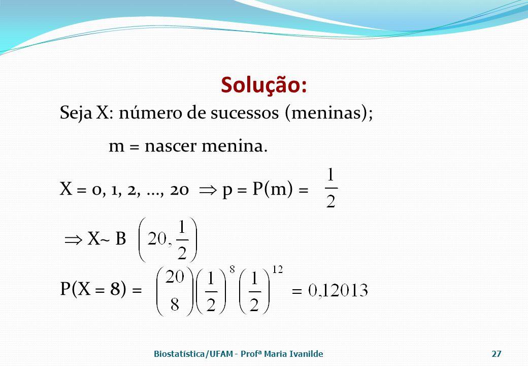 Solução: Seja X: número de sucessos (meninas); m = nascer menina.