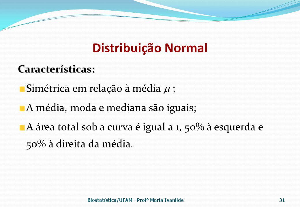 Distribuição Normal Características: Simétrica em relação à média  ;
