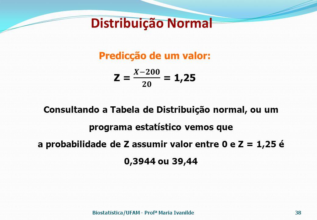 Distribuição Normal Consultando a Tabela de Distribuição normal, ou um programa estatístico vemos que.
