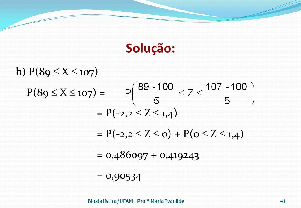 Solução: b) P(89  X  107) P(89  X  107) = = P(-2,2  Z  1,4)