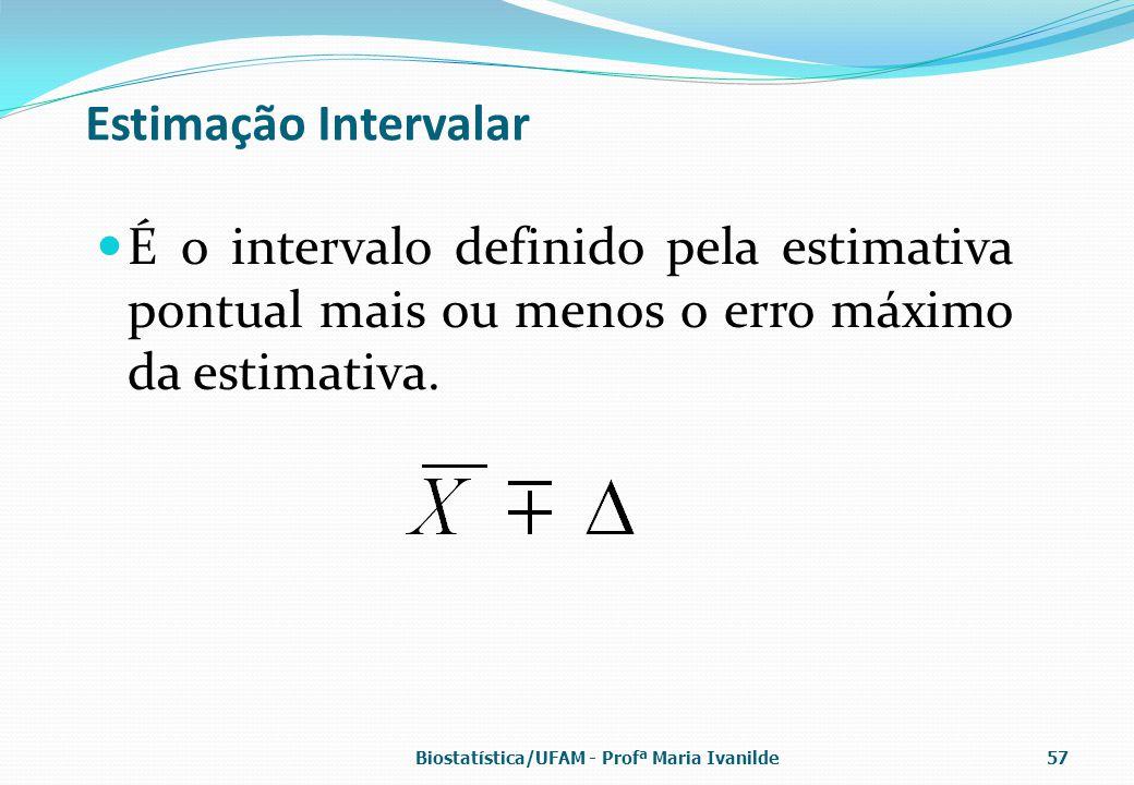 Estimação Intervalar É o intervalo definido pela estimativa pontual mais ou menos o erro máximo da estimativa.