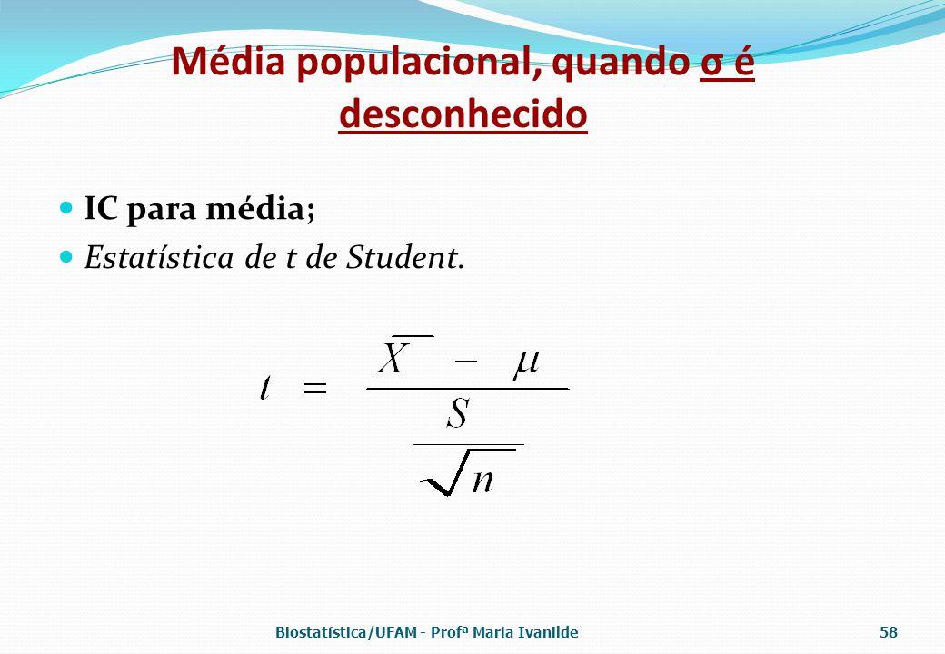 Média populacional, quando σ é desconhecido