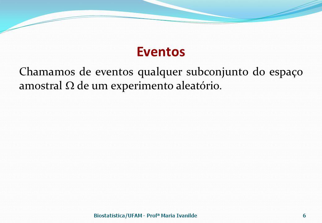 Eventos Chamamos de eventos qualquer subconjunto do espaço amostral  de um experimento aleatório.