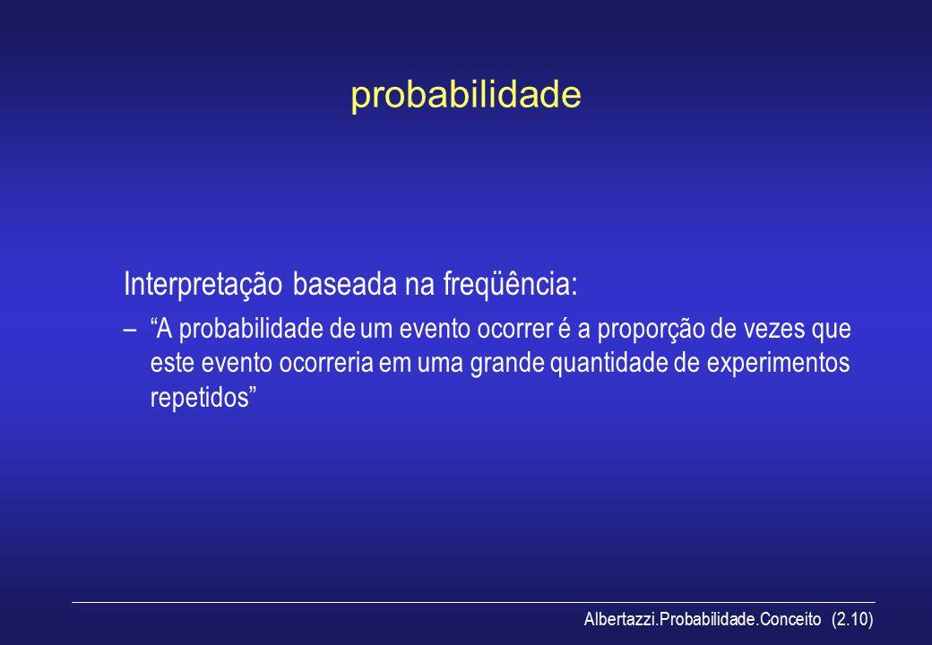 probabilidade Interpretação baseada na freqüência: